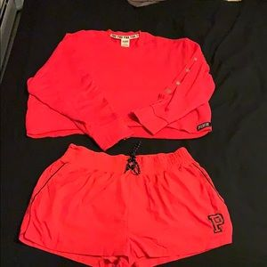 Women's VS PINK red matching set.